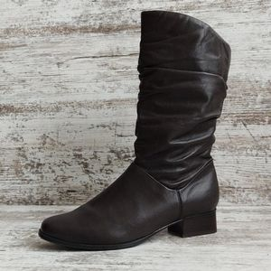 ⚀Liz Baker Brown Leather Slouch Boot